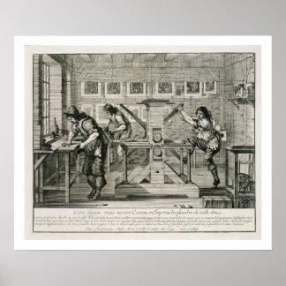 Französische Druckmaschine, 1642 (Stich) Poster