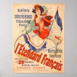 Französische Fahrrad-Frauen-Vintager Kunst-Druck Plakatdrucke