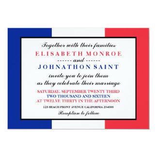 Französische Flaggen-Hochzeit 12,7 X 17,8 Cm Einladungskarte