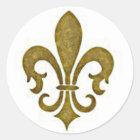 Französische goldene GoldLilien-Blumen-Aufkleber Runder Aufkleber