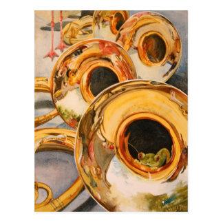 Französische Horn-Musiker-lustige Frosch-Künstler- Postkarte