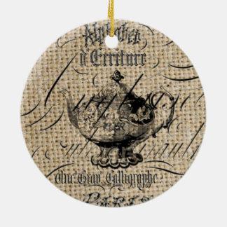 französische Landleinwand scripts Rundes Keramik Ornament