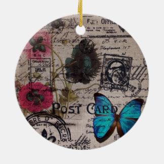 französische Landskripte der botanischen Rundes Keramik Ornament