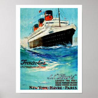 Französische Linie ~ SS Paris Poster