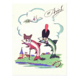 Französische Militärfisch-Hufeisen-Taube Postkarte
