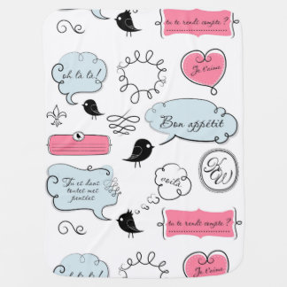 Französische Mode-Art-Sprache-Blasen Babydecke