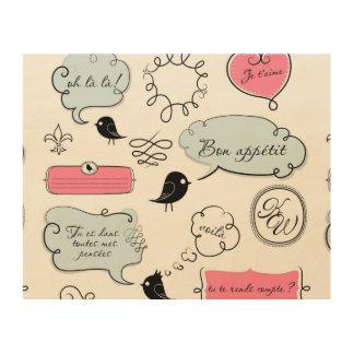 Französische Mode-Art-Sprache-Blasen Holzwanddeko