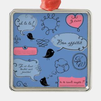 Französische Mode-Art-Sprache-Blasen Quadratisches Silberfarbenes Ornament