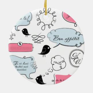 Französische Mode-Art-Sprache-Blasen Rundes Keramik Ornament