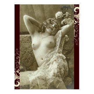 Französische Postkarte - Risque Akt