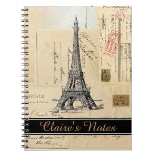 Französische Postkarten Paris personifizieren Spiral Notizbücher