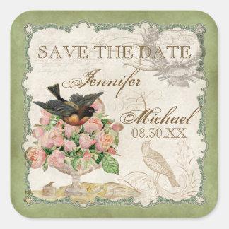 Französische Rosen-Liebe-Vogel-Vintage Spitze - Quadratischer Aufkleber