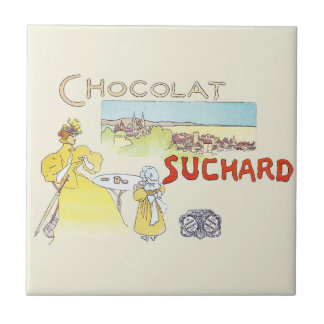 Französische Schokoladen-Vintage Süßigkeits-Werbun Kleine Quadratische Fliese