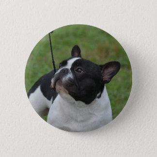 Französische Schwarzweiss-Bulldogge Runder Button 5,1 Cm