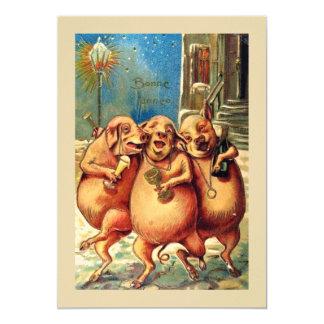 Französische Schweine feiern das neue Jahr Vintag Karte