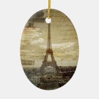 französische Skripte moderner Vintager Turm Paris Keramik Ornament