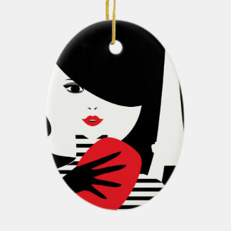 Französische stilvolle Modeillustration der Mode Keramik Ornament