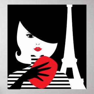Französische stilvolle Modeillustration der Mode Poster