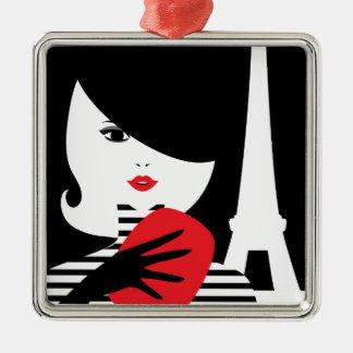 Französische stilvolle Modeillustration der Mode Silbernes Ornament