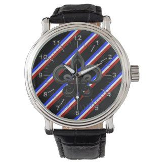 Französische Streifenflagge Uhr