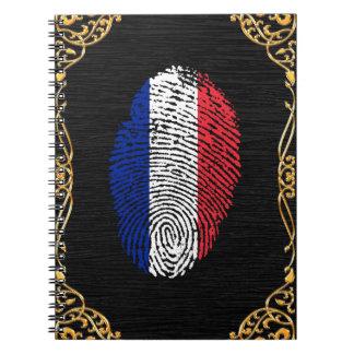 Französische Touchfingerabdruckflagge Spiral Notizblock