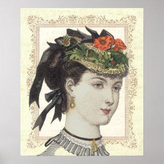Französische Vintage Mode-Dame Poppies im Hut Poster