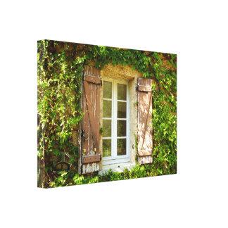 Französischer Bauernhaus-Fenster-u. Leinwanddruck
