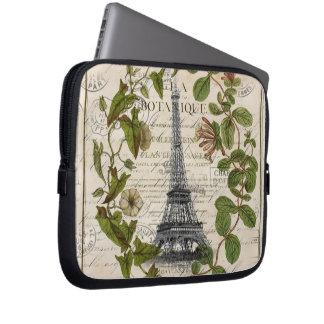 französischer botanischer Efeu verlässt Turm Paris Laptop Sleeve