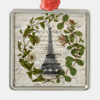 französischer botanischer Efeu verlässt Turm Paris Silbernes Ornament