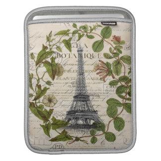 französischer botanischer Efeu verlässt Turm Paris Sleeve Für iPads