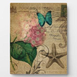 Französischer botanischer Kunst Seashell Fotoplatte