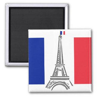 Französischer Flaggen-Eiffelturm-Paris-Magnet Quadratischer Magnet