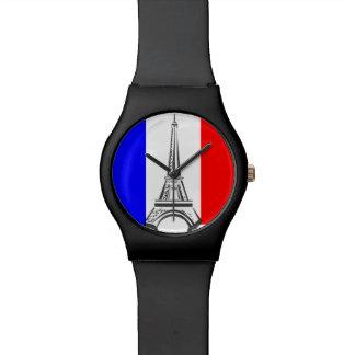 Französischer Flaggenturm Eiffel Armbanduhr