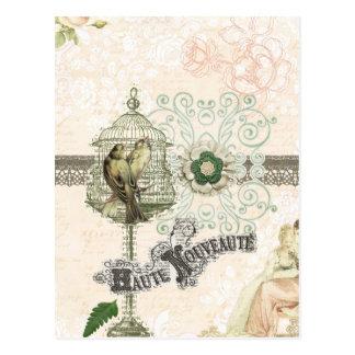 Französischer inspirierter Shabby Chic-Vogel-Käfig Postkarte