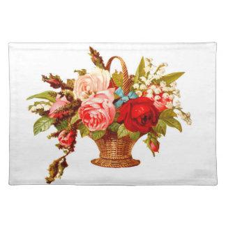 Französischer Land-Dekor-Vintage Rosen Stofftischset