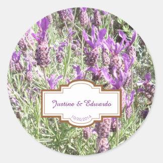 Französischer Lavendel-Blumen-personalisierte Runder Aufkleber
