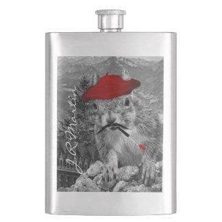 Französischer Maler im roten Barett-Eichhörnchen Flachmann