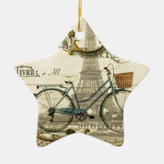 französischer moderner Vintager Turm Fahrradparis Keramik Ornament
