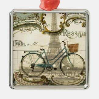 französischer moderner Vintager Turm Fahrradparis Quadratisches Silberfarbenes Ornament