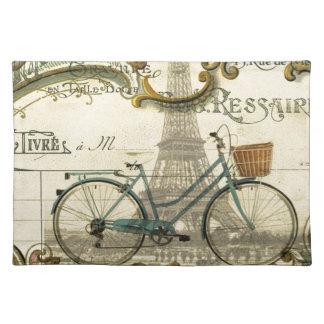 französischer moderner Vintager Turm Fahrradparis Stofftischset