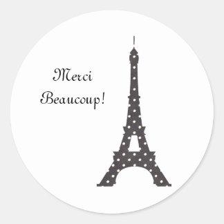 Französischer Tupfen-Schwarzweiss-Eiffelturm Runder Aufkleber