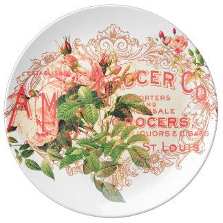 Französischer Vintage, Rosen und werbe Postkarte, Porzellanteller