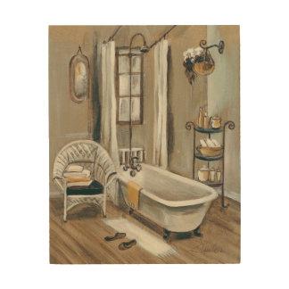 Französisches Badezimmer mit Badewanne Holzdruck