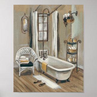 Französisches Badezimmer mit Badewanne Poster