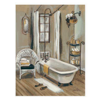 Französisches Badezimmer mit Badewanne Postkarte