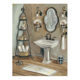 Franzu0026#246;sisches Badezimmer Mit Spiegel Und Wanne Postkarte. Französisches  ...