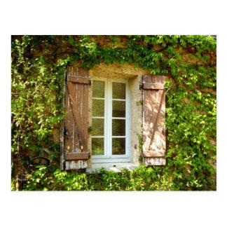 Französisches Bauernhaus-Fenster u. Fensterläden Postkarte