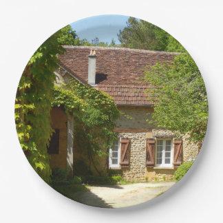 Französisches Bauernhaus und Gite Pappteller