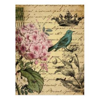 französisches botanisches des Kronenskript Postkarte