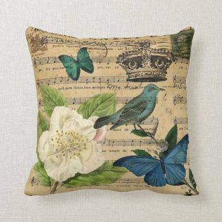 französisches botanisches Vintagen Kronenvogel Kissen